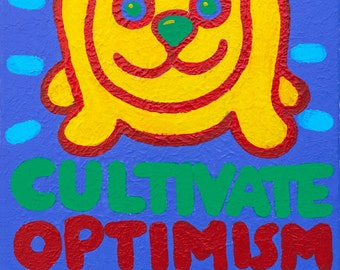 yellow dog Tee Cultivate Optimism  copyright Hillary Vermont