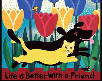 """Giclee """"Life is Better With a Friend"""" 20"""" x 20""""  Black dog Yellow Cat copyright Hillary Vermont"""