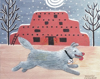 7 Jingle Bell Dog hand made note cards, Santa Fe adobe copyright Hillary Vermont
