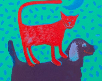 Red cat Purple dog Trust Imperfection cards or print  copyright Hillary Vermont