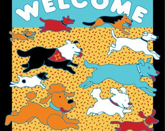 """WELCOME sign . Metal 30""""x30"""" Dog Park sign c Hillary Vermont"""