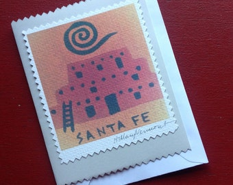 4 Santa Fe note cards hand made copyright Hillary Vermont