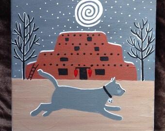 Jingle Bell Cat Tee, Santa Fe Adobe copyright Hillary Vermont