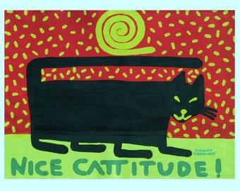 Black cat tee Nice Cattitude copyright Hillary Vermont