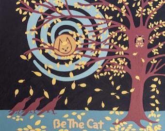"Be the Cat 36""x32"" acrylic painting on canvas yellow orange  cat c Hillary Vermont"