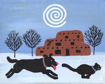 Adobe Winter Print. Southwest or Santa Fe Scene. Black Cat  and Black Dog  frolicking c Hillary Vermont