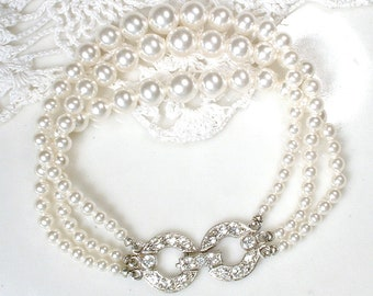 TRUE Vintage Art Deco Pearl Bracelet,Multi Strand Ivory Glass Pearl Bridal Bracelet,Pave Rhinestone Ornate Silver Clasp 1920s Modern Wedding