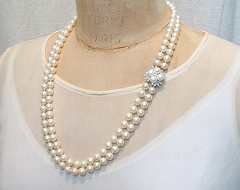 Art Deco Ivory Pearl & Pave Rhinestone Bridal Necklace,RICHELIEU Vintage Double Strand Ornate Clasp Pearl Necklace,Great Gatsby Wedding 1950