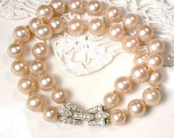 DESIGNER Art Deco Pearl Bridal Bracelet, Vintage 1920s Wedding Multi Two Strand Champagne Glass Pearl, Pave Rhinestone Ornate Silver Clasp