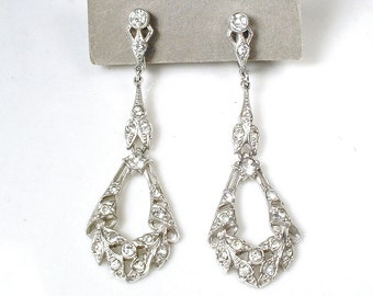 Art Deco Antique French Paste Drop Earrings 1920 Rhinestone Pave Dangle Bridal Statement Earrings Flapper Jewelry Vintage Wedding Screw Back