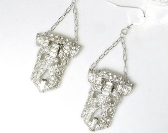 OOAK Antique 1930s Art Deco Bridal Dangle Earrings, Sterling Silver Pave Paste Rhinestone Vintage 1920 Wedding Dress Clip Statement Flapper