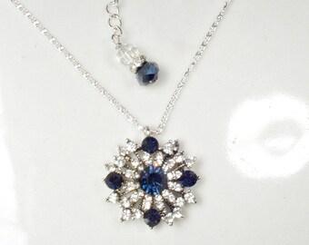 Dark Navy Blue Rhinestone Necklace, Sapphire Bridal/Bridesmaid Necklace, Art Deco Pave Crystal Antique Silver Pendant 1920 Vintage Victorian