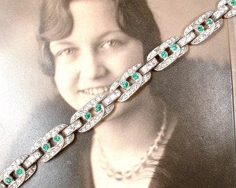 ORiGiNaL 1920s Art Deco Emerald Rhinestone Bracelet, Green Clear Pave Rhinestone Silver Link Bride Bracelet,Vintage Wedding Pot Metal Paste