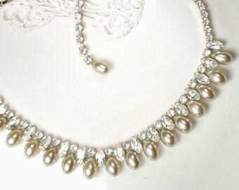 Vintage WEISS Champagne Pearl Necklace, 1940s Rhinestone Glass Pearl Choker Bridal Statement, 1920s Wedding Jewelry Georgian Designer Silver