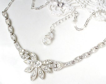 Vintage Great Gatsby Rhinestone Bridal Necklace, 1920s Art Deco Paste Crystal Silver Bib Collar, 20s Flapper Wedding Jewelry Antique ORA