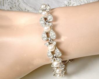 Designer BOGOFF Art Deco  Pearl Bridal Bracelet, Vintage Wedding Pave Rhinestone Ivory Pearl Bracelet, Silver Link Statement 1940s 1950s Set