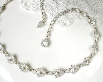 Designer Vintage Art Deco Rhinestone Bridal Necklace,Silver Pave Leaf Link Statement Necklace 1940 Nouveau Gatsby 1920 Wedding Choker Dainty