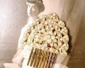 1920s Vintage Art Deco Edwardian Lacy Gold Bridal Hair Comb,Pave Rhinestone Fan Hairpiece Antique 1930s Dress Clip Wedding Headpiece Flapper