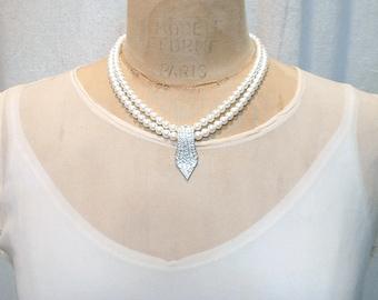 PRISTINE Designer Vintage Art Deco Pearl Bridal Necklace, Two Strand Ivory Pearl & Pave Rhinestone Vintage Wedding Jewelry Statement Carolee