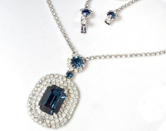 Art Deco Sapphire Blue & Clear Rhinestone Bridal Necklace,Silver Navy Crystal Statement Necklace,Vintage 1920 Wedding Gatsby Flapper Jewelry