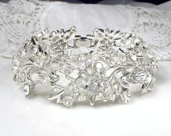 CORO Rhinestone Wide Link Bridal Bracelet, Vintage Wedding Jewelry,Silver Pave Clear Crystal Bracelet Statement Flower Cuff 1950 Designer