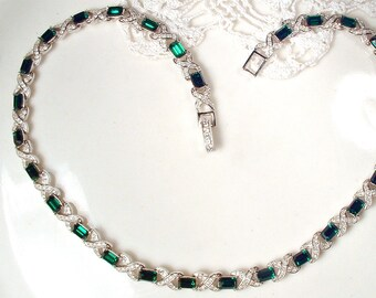 Art Deco Emerald Rhinestone Bridal Necklace, 1950s Silver Dark Green Crystal Statement Necklace, Vintage Wedding Gatsby Flapper Jewelry