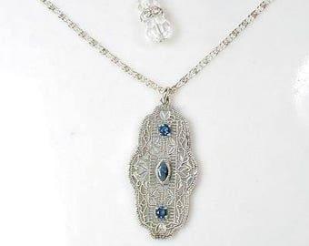 Edwardian Sapphire Rhinestone Pendant Necklace, Art Deco Bridal Flapper Vintage STERLING SILVER Filigree Great Gatsby Wedding Navy Blue