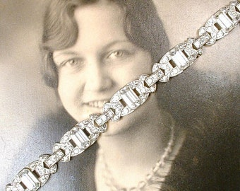 Vintage ENGEL BROS. Art Deco Bracelet, Silver Pave Rhinestone Bracelet, 1920s Vintage Wedding Bridal Great Gatsby Tennis Flapper Jewelry