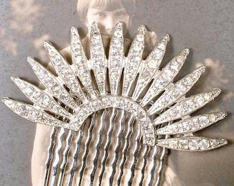 Authentic Art Deco Hair Comb, 1930s Vintage Rhinestone Fan Bridal Hair Accessory, Flapper Crystal Dress Clip Great Gatsby Wedding Headpiece