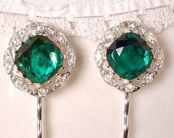 Pair Vintage Art Deco Emerald Bridal Hair Pins, Green Crystal Rhinestone Gatsby Wedding Bobby Pins, Keepsake Hair Clips 1920s Hair Grips