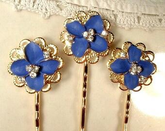 Something Blue Bridal Hair Pins, Gold Bridesmaid Gift Set 3, Sapphire Navy Blue Rhinestone Flower Jeweled Bobby Pins Clips Wedding Jewelry