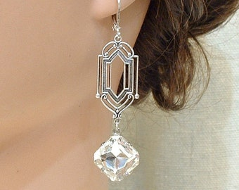93cf7d1e3 Vintage Art Deco Rhinestone Dangle Earrings, Long Square Clear Crystal  Antique Silver Bridal Drops, Flapper Gatsby Bridesmaid 1920s Jewelry