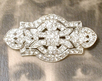 1940s OOAK Bridal Headpiece/Wedding Dress Sash Brooch, Art Deco Vintage Rhinestone Hair Comb Clip Geometric Paste Pave Crystal Silver Bride