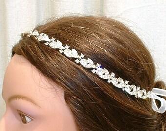 1920s Bridal Headband Hair Vine Vintage Crystal Rhinestone Downton Abbey Tiara Wreath Chain Art Deco Flapper Great Gatsby Wedding Halo Band