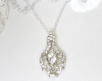 Vintage Art Deco Rhinestone Pendant Necklace, STERLING SILVER Pave Crystal 1920s Bridal Necklace, Great Gatsby Wedding Jewelry 1930s Flapper