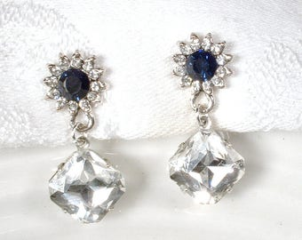 Dark Navy Blue Rhinestone Earrings, Sapphire Bridal/Bridesmaid Dangle Drop, Art Deco Pave Crystal Antique Silver Something Blue Midnight