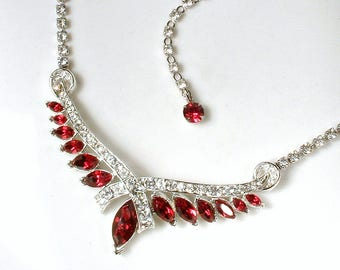 CORO Vintage Art Deco Necklace,Paste Garnet Red Rhinestone 1940s Bridal Necklace Silver Pave Statement Necklace GATSBY Wedding Bohemian Dark