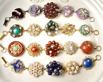 564bdbc4a OOAK Autumn Vintage Earring Bracelet,CHOICE Emerald Purple Navy Rust  Rhinestone Bridesmaid Gift Wedding,Gold/Silver Jewel Tones Charm Wide