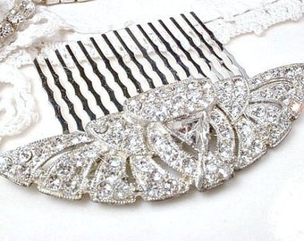 89180f35a 1920s ANTIQUE Fan Bridal Hair Comb, Downton Abbey 1930s Wedding Vintage  Rhinestone Sash Brooch to Headpiece Gatsby Art Deco Flapper Jewelry