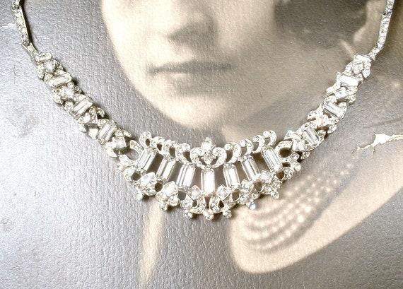 designer bridal STUNNING Authentic Vintage Signed BOGOFF Rhinestone Necklace silver tone metal vintage wedding piece Rhodium plated