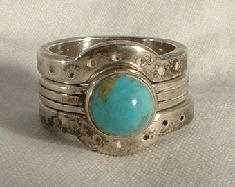Sterling Vintage Native American Artisan Turquoise Stack Ring Size 5