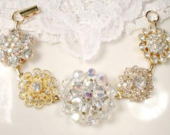 OOAK Vintage Wedding Crystal & Rhinestone Gold Bridal Bracelet, Old Hollywood Glam Cluster Earring Bracelet Bridesmaid Gift Mother Bride