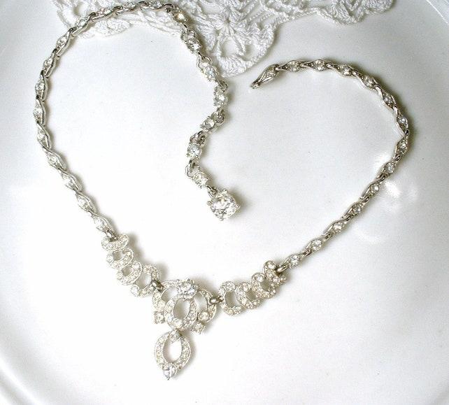 Designer BOGOFF Vintage Gatsby Rhinestone Bridal Necklace, 1920's Art Deco  Paste Crystal Silver Choker, ...