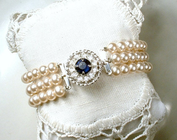 987b6999d0 Vintage Champagne Ivory Pearl Sapphire Rhinestone Bridal Bracelet, Art Deco  Three Strand Glass Pearl Ornate Pave Clasp Something Blue Old