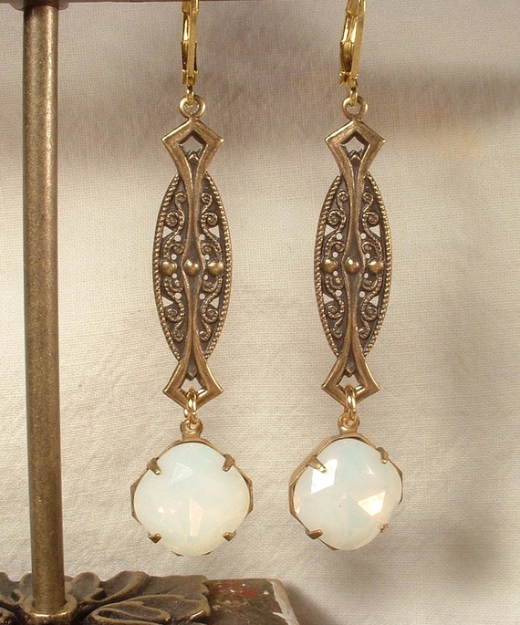 Vintage Style Jewelry, Retro Jewelry 1920s OPAL Antique Gold Art Nouveau/Deco Rhinestone Vintage Dangle Earrings Long White Pinfire Bridal Statement Drop Gatsby Downton Abbey $44.99 AT vintagedancer.com