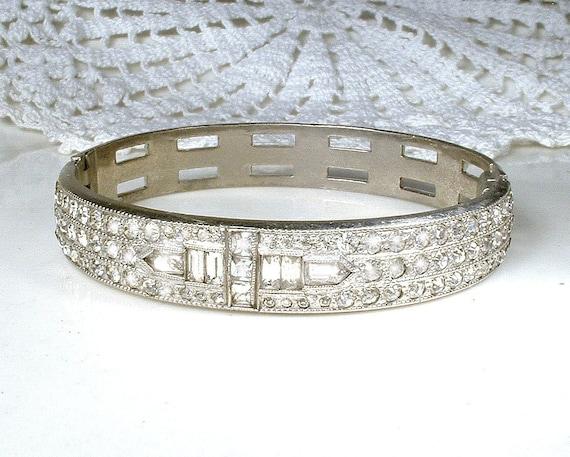 Antique ALLCO Art Deco Crystal Rhinestone Bangle B