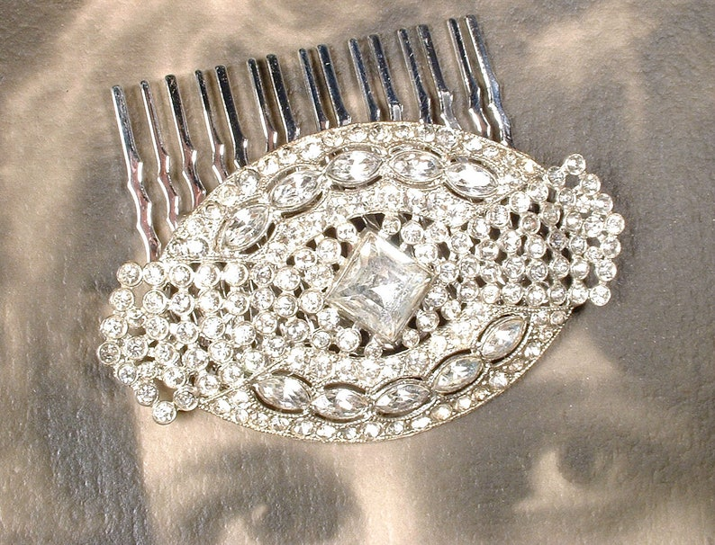 74d563fd1b3bf 1920's Wedding Dress Sash Brooch/OOAK Hair Comb Art Deco/Edwardian Vintage  Paste Pave Rhinestone Bridal Hairpiece Antique Gatsby Downton