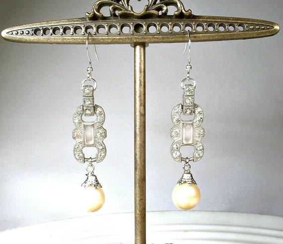 Antique STeRLiNG SiLVeR Rhinestone Glass Pearl Bridal Dangle,1920s 1930s Wedding Long Drop Vintage Art Deco Marcasite Ivory Pearl Earrings