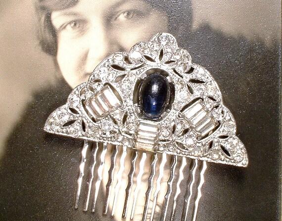 OOAK Antique Art Deco peigne à cheveux de mariée saphir marine strass argent Vintage 1920 mariage, robe bleu casque Gatsby accessoire
