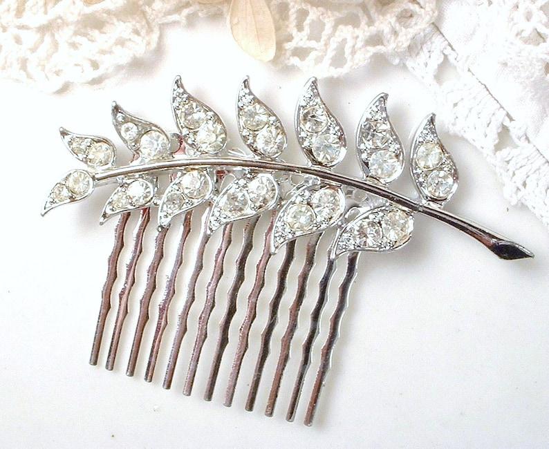 Art Deco Clear Pave Rhinestone Silver Fern Brooch or Hair Comb Vintage Bridal Leaf Hairpiece or Sash Brooch Woodland Wedding Grecian 1920s